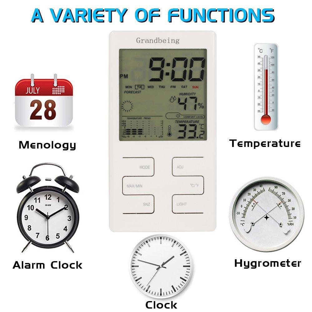 Termómetro Higrómetro GrandBeing Reloj Despertador Termómetro Calendario Digital con Patalla LCD y Rretroiluminación, Estación Meteorológica de Temperatura ...
