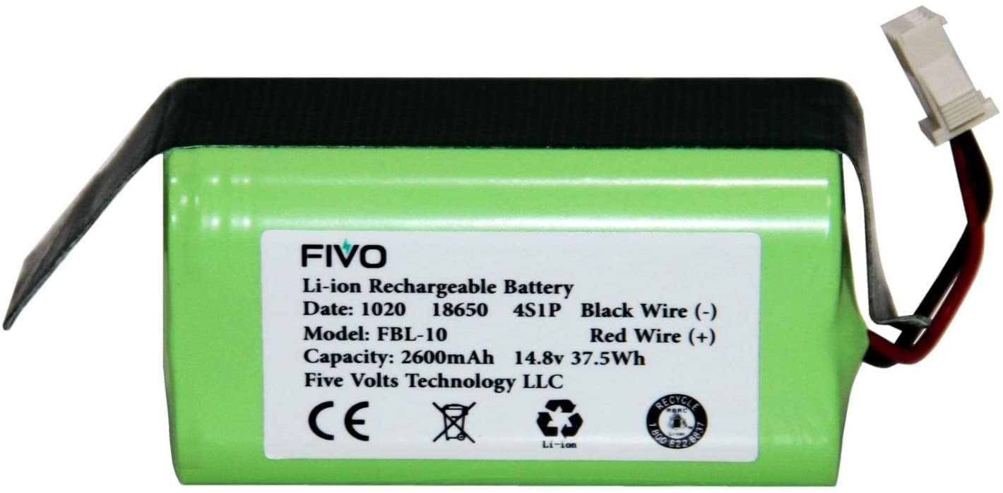 FIVO Battery for Shark Ion RV750, RV720, RV725, RV700, Coredy R500, R300, R650, R750 Vacuum Cleaners. 2600mAh, 14.4v. (3 Prongs)