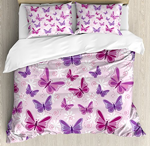Ambesonne Butterflies Duvet Cover Set Queen Size, Various Flying Butterflies with Fairy Colors Hippie Style Print Magical Theme Decor, A Decorative 3 Piece Bedding Set with 2 Pillow Shams, Pink Purple ()