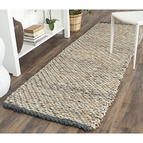 Safavieh Natural Fiber Collection NF454A Hand Woven Blue and Natural Jute Runner (2'6
