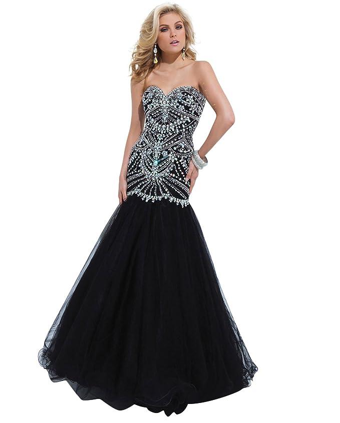 Amazon.com: Black Strapless Mermaid Formal Prom Dress 114746: Clothing