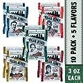 Louisville Vegan Jerky - 5 Flavor Mega Variety 10-Pack, 21 Grams of Non-GMO Soy Protein, Gluten-Free Ingredients (Black Pepper, Chipotle, Sriracha Maple, Maple Bacon, & Carolina BBQ, 3 oz.)