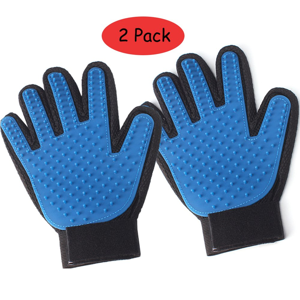 HXYD Five Finger Pet Grooming Glove Message Bathing Mitten Hair Remover for Dogs, Cats and Horses