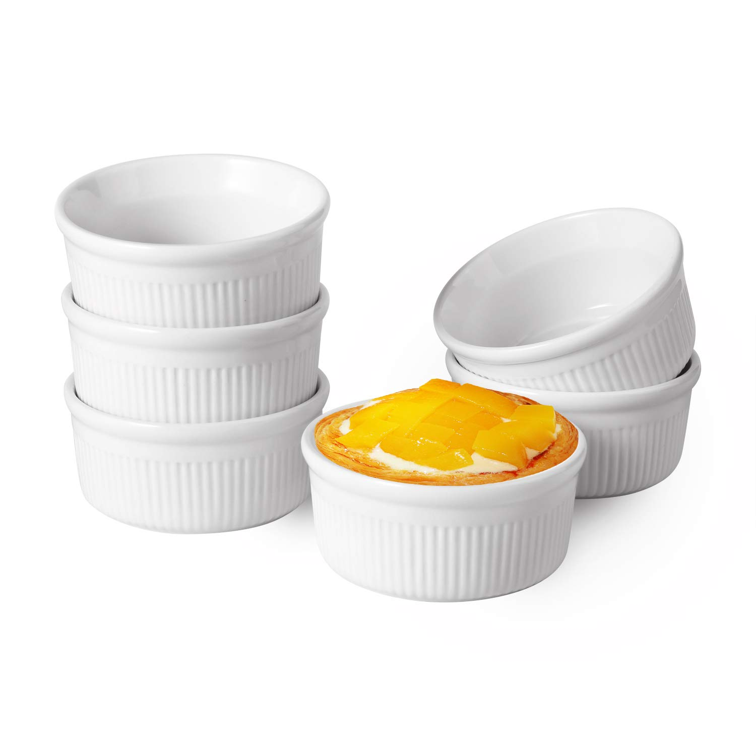 ComSaf White Porcelain Ramekins, 6oz Baking Cups for Souffle, Creme Brulee, Custards, Pudding and Ice Cream - Durable Set of 6 by ComSaf