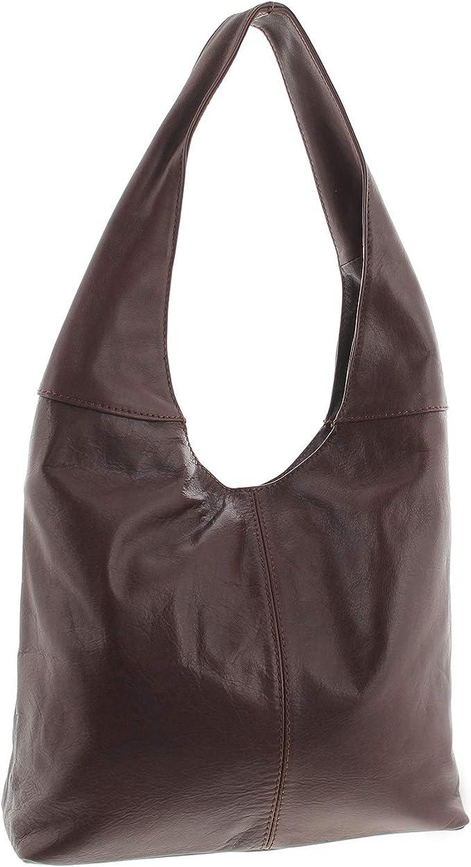 ITALY echt LEDER Handtasche Shopper Damen*Henkel*Schulter*Tasche SILBER ANGEBOT!