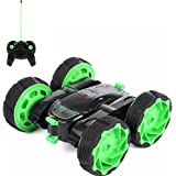 SGOTA RC Car 4WD Stunt Double Side High Speed Racing Car 360° Spins Rolling Radio Control Vehicle with LED Light(Green)