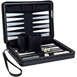 Compact Travel Magnetic Backgammon with Carrying Strap - Black with Grey Stripe
