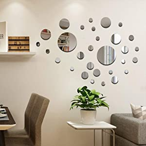 CUNYA 32 PCS Round Acrylic Mirror Silver Wall Decor Stickers, Removable DIY Self-Adhesive Circle Wall Art Decals Home Decorations for Living Room, Bedroom, Farmhouse Decor (Solid)