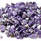Bingcute 1 lb Natural Amethyst Tumbled Chips Stone About 10-15mm Length Each Crushed Healing Crystal Quartz Pieces…
