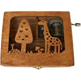 Balai Engraved Wooden Music Box With A Giraffe Engraved On Top Animal Hand Wind Up Mechanism Music Box