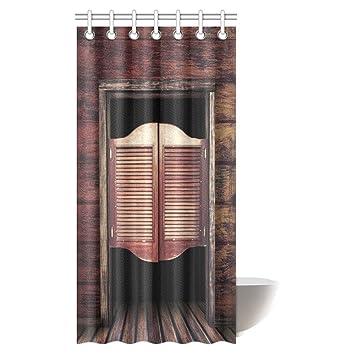 InterestPrint Western Decor Shower Curtain, Rustic Old Western Swinging  Saloon Doors Fabric Shower Curtain Set