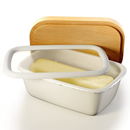 Amazoncom Butter Dish with Lid White Covered Enamel Keeper