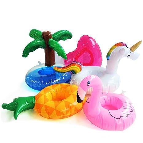 DMAR 5 Piezas Mini Titular de Bebida Inflable Flamingo Unicorn Pool Flotador Juguetes Portavasos Flotador Natación