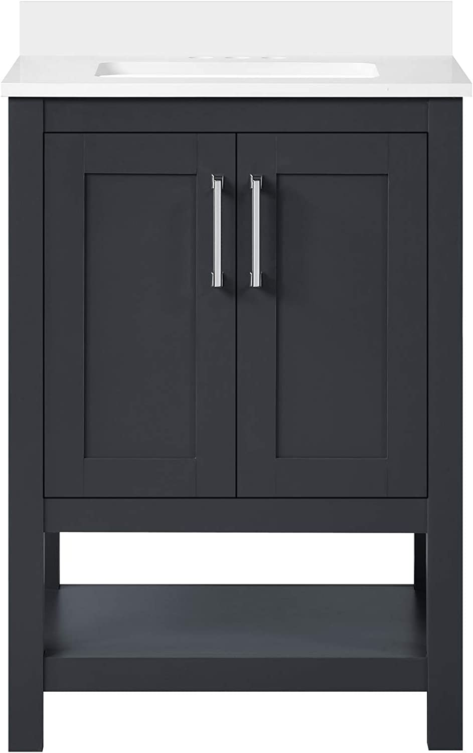 Ove Decors Vegas 24 Inch Bathroom Vanity Combo Freestanding Bath Cabinet Modern Single Sink With Cultured Marble Countertop Fully Assembled Backsplash Included Dark Charcoal Amazon Com