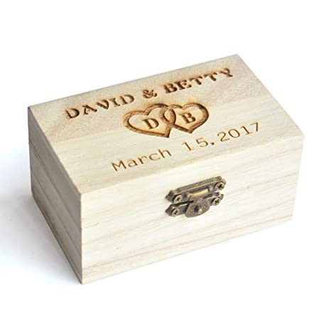 Personalizado Anillo caja, caja de anillos de boda diseño rústico, madera caja de anillos