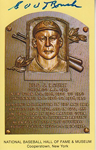 Ed Roush Autographed Hall of Fame Postcard with The Sports Page COA