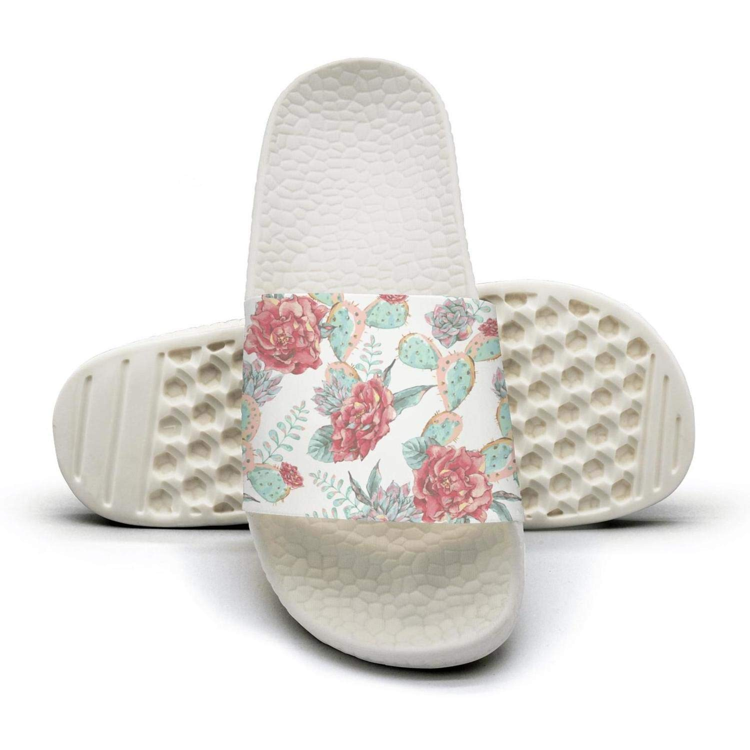 Mens Floral Pattern with Daisies Slippers for Mens Athletic Bathroom Shoes