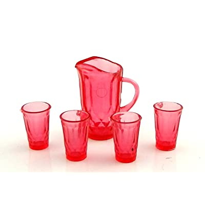Melody Jane Dolls Houses Cranberry Jug & Glasses Pitcher Tumblers Miniature Dining Accessory: Toys & Games
