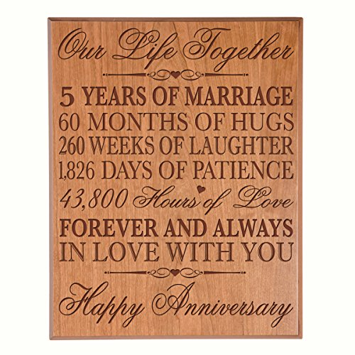 5th Wedding Anniversary Wall Plaque Gifts for Couple, 5th
