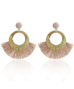 Paolian Femmes Cercle Bordées Boucles d'oreilles Boho Bijoux de mode (Kaki)