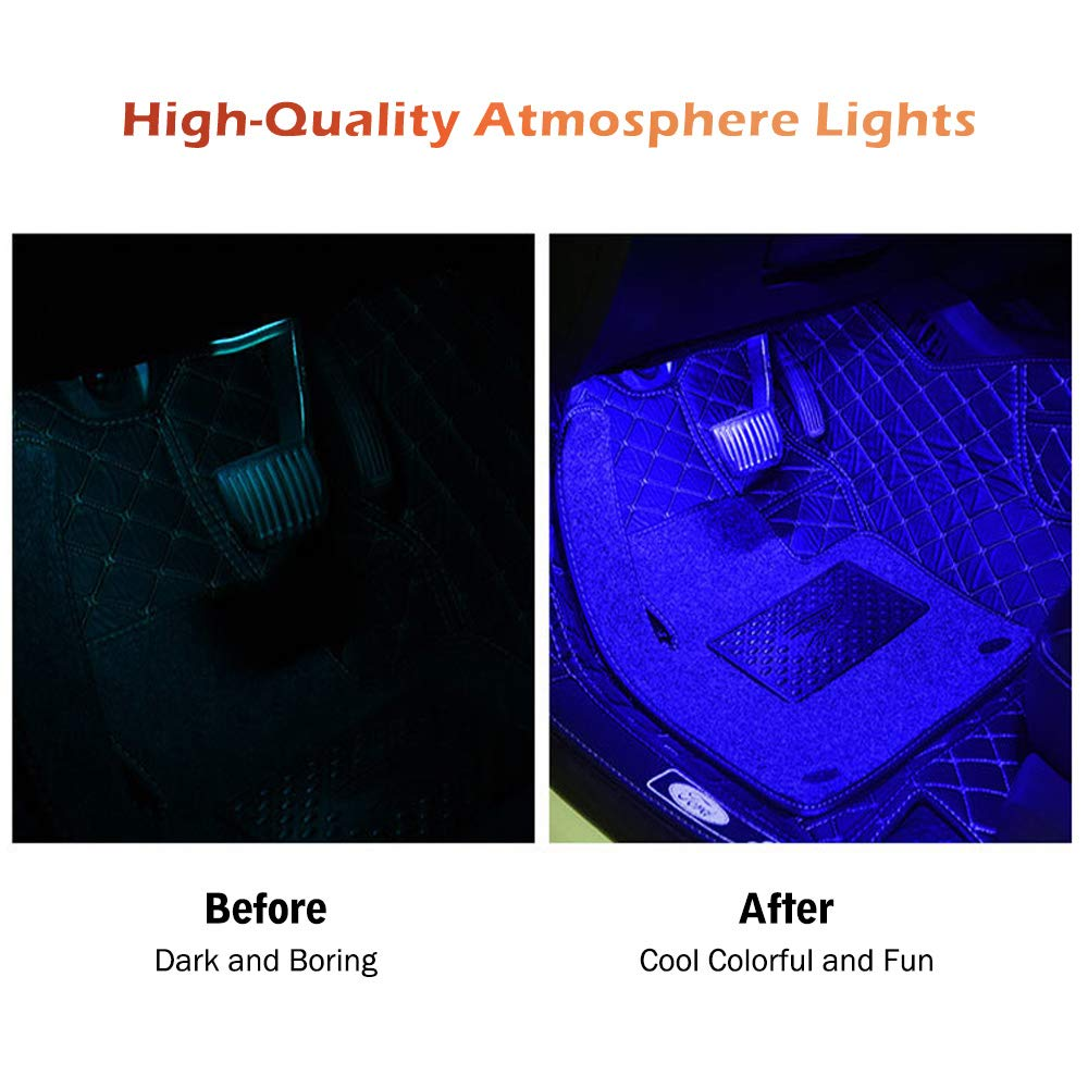 DC 12V Car Atmosphere Light RGB Multi Color Music Interior Car Lights Upgrade One Control Four Wires Waterproof Design Car LED Lights,APP Control Lighting Kits with Music Sensor for Various Car
