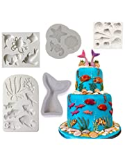 Silicone Ocean Animals Fondant Mould Sea Shell, Caballito de mar, Pescado, Pulpo,