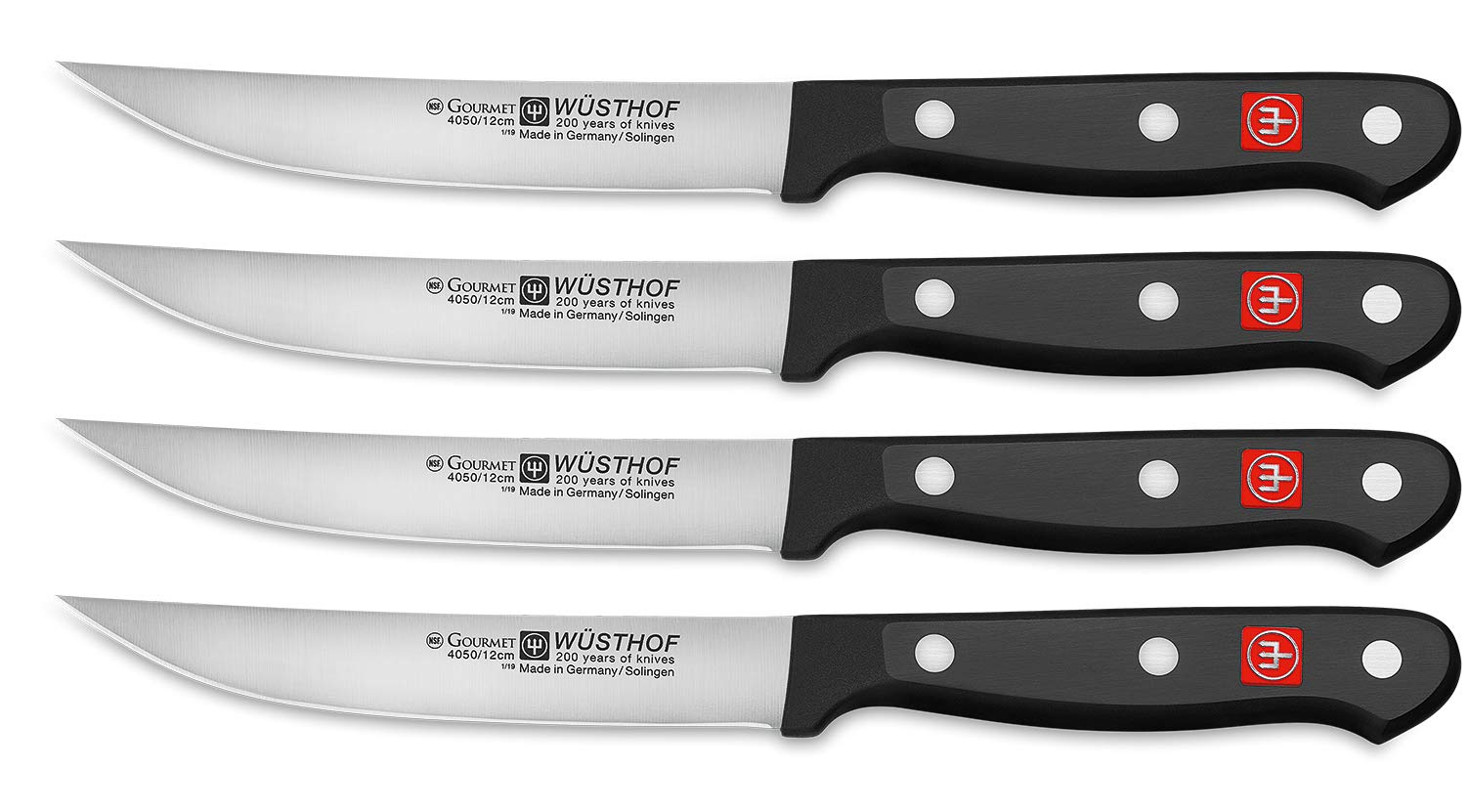 Wusthof Gourmet Four 4-Piece German Precise Laser Cut High Carbon Stainless Steel Kitchen Steak Knife Set – Model 9729