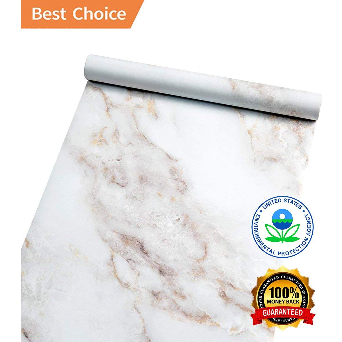 Abyssaly 16'' X 118'' Marble Contact Paper Film Peel and Stick Countertops, Authentic Marble Look, Durable, Waterproof for Home and Office