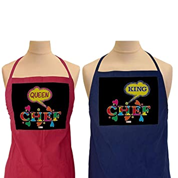 Indigifts Valentines Day Gifts Queen And King Chef Quote Multi Apron 26x30 Inches Set Of 2