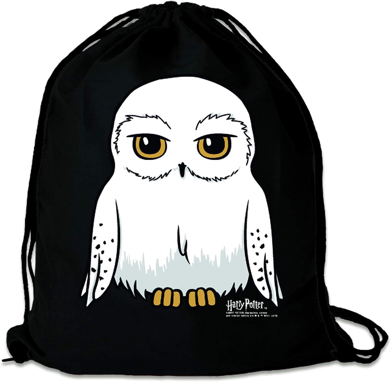 Harry Potter Bolsa Dise/ño Original con Licencia Lechuza Mochila Saco Negro Hedwig LOGOSHIRT