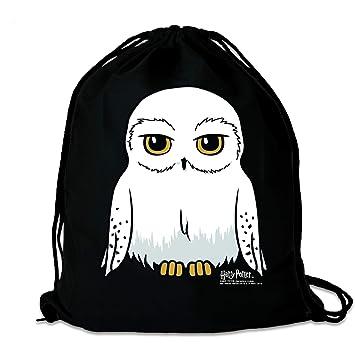 LOGOSHIRT - Harry Potter - Lechuza - Hedwig - Mochila Saco - Bolsa - Negro - Diseño Original con Licencia: Amazon.es: Equipaje