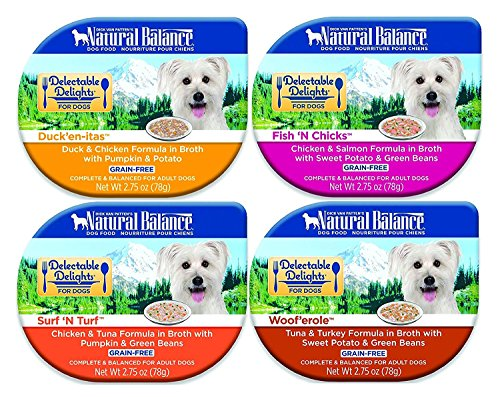 Natural Balance Delectable Delights 2.75-oz tubs Grain-Free Wet Dog Food, Case of 16 with 4 Flavors - Fish N Chicks, Ducken-itas, Surf N Turf, and Wooferole