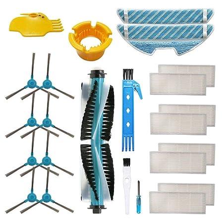 Accesorio para Cecotec Conga 1390 Cecotec Conga 1290 Robot Aspirador Repuestos Paquete de 1 Cepillo principal, 8 filtros Hepa, 8 cepillos laterales, 2 ...