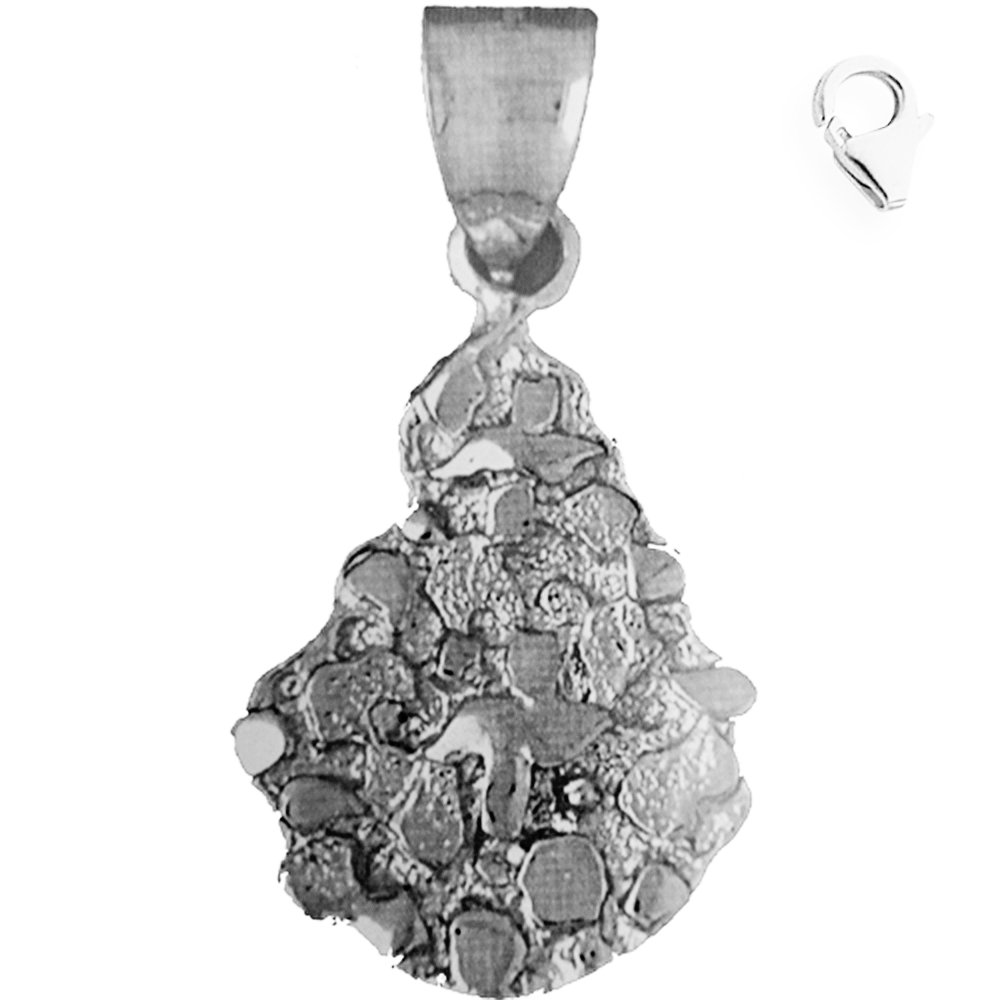 JewelsObsession Sterling Silver 47mm Nugget Charm w//Lobster Clasp