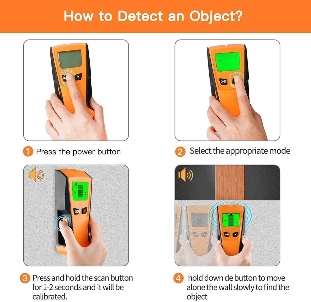 Detector de pared multifunci/ón 5 en 1 con cable de CA y pantalla LCD digital Vislone