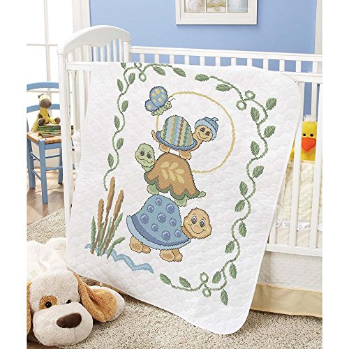 Baby by Herrschners Pre-Quilted Turtle Stack Baby Quilt Stamped Cross-Stitch Kit
