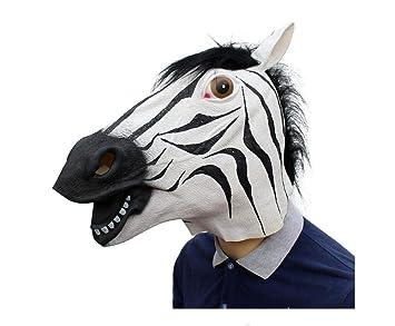 DUBAOBAO Máscara De Halloween, Fiesta De Halloween Suministros De Animales Látex Máscara De Cebra,