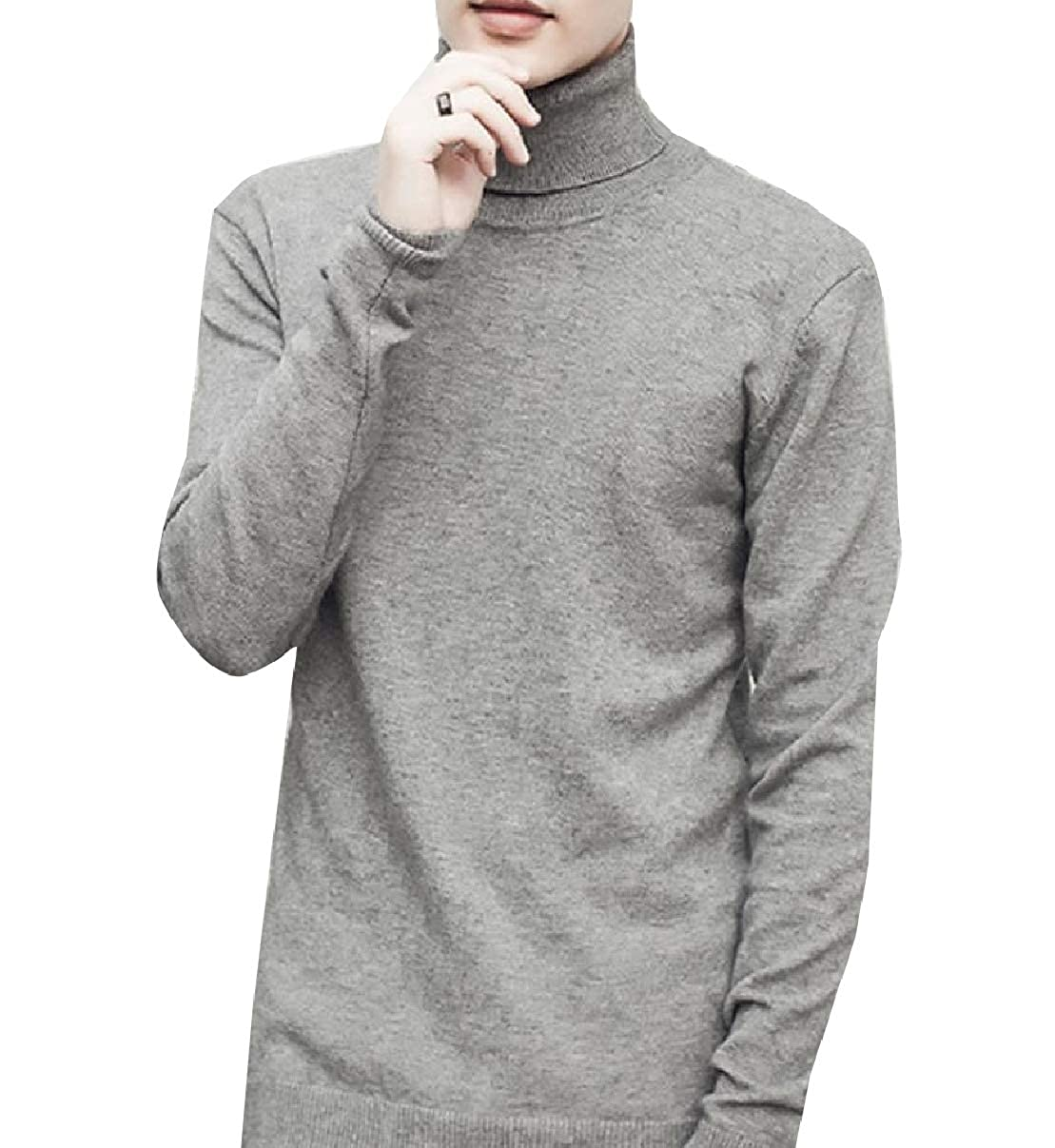 RDHOPE-Men Plus-Size Thermal Fitted Knit Solid Turtleneck Sweater Top