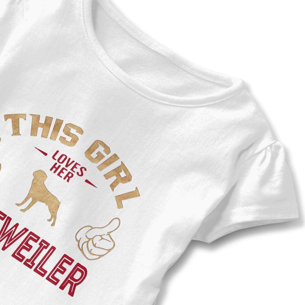 This Girl Love Rottweiler Toddler Girls T Shirt Kids Cotton Short Sleeve Ruffle Tee