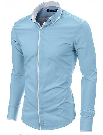 MODERNO Herren Hemd Slim Fit Casual Langarm Button Down Kragen (MOD1445LS)  Himmelblau EU S