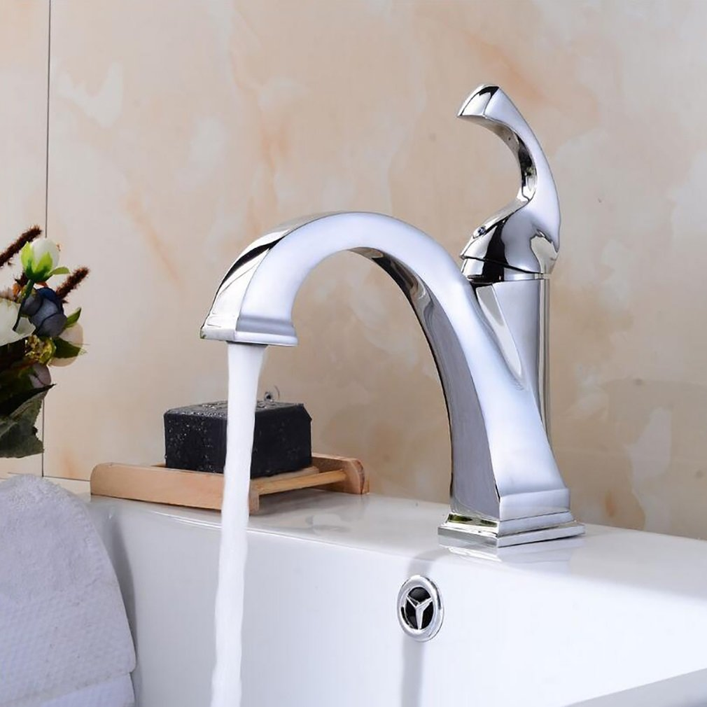 Bathroom accessories, easy to use and user-friendl Hot And Cold Taps,Bathroom Basin Creative Faucet,European Style Washroom Hotel Single Spout Mixer Tap XIAHE