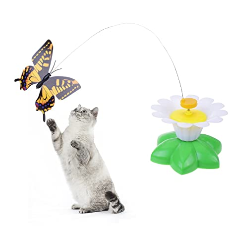 Prologfer Juguetes giratorios para gato eléctrico con alambre de acero, juguetes interactivos giratorios y eléctricos