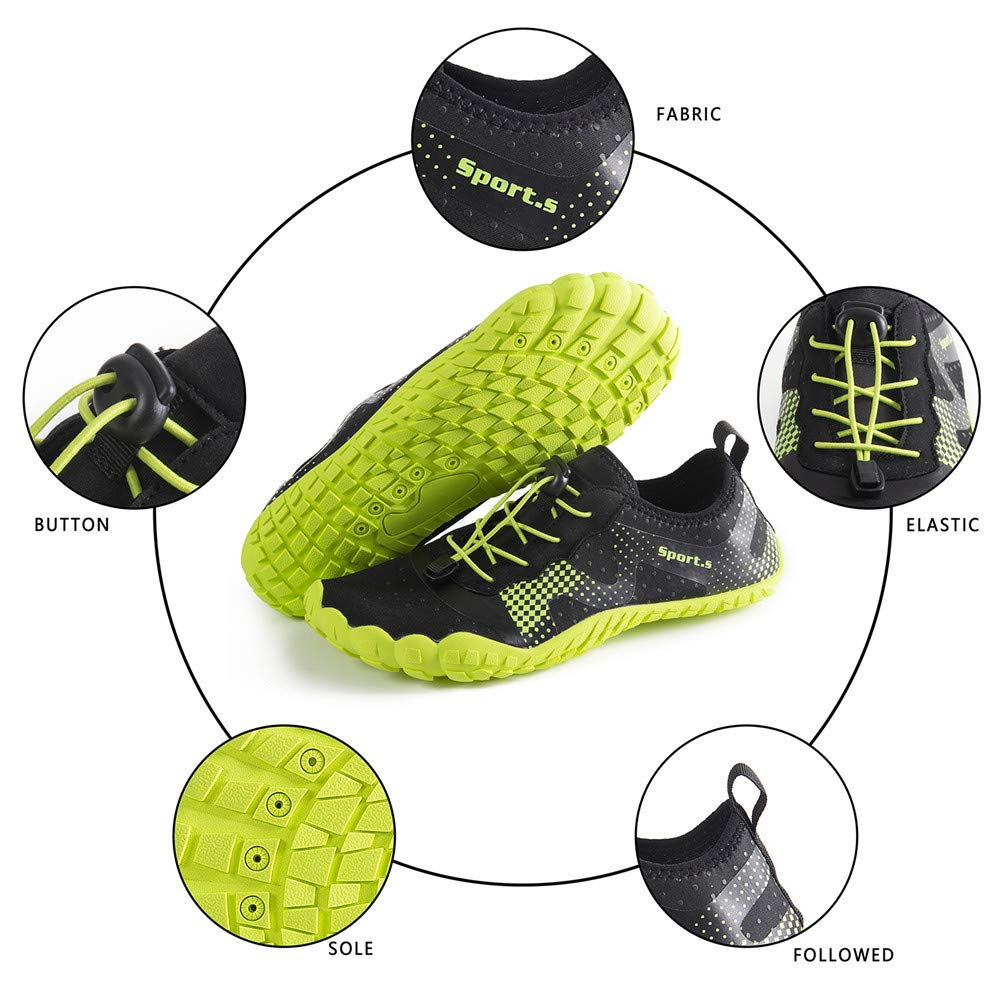 Water Shoes for Men Quick-Dry Aqua Sock Outdoor Athletic Sport Shoes for Kayaking,Boating,Hiking,Surfing,Walking (A-Black/Green, 43) by WateLves (Image #5)