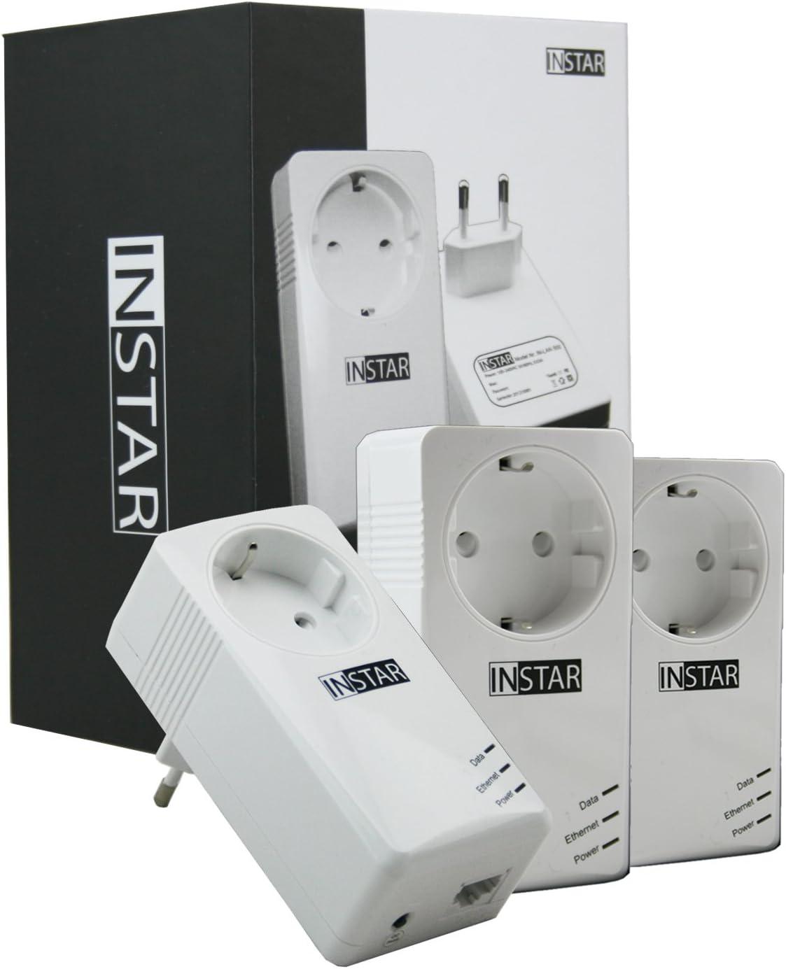 2er Set//Netzwerk /über die Steckdose//Stromleitung//HomePlug konform INSTAR IN-LAN 500 Weiss//Powerline Adapter//Starter Set