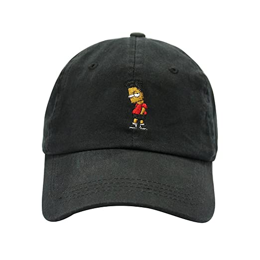 ChoKoLids Black Hair Bart Dad Hat Cotton Baseball Cap Polo Style Low  Profile 5 Colors ( 801b07a8dcec