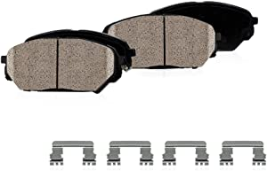 CPK11458 FRONT Performance Grade Quiet Low Dust [4] Ceramic Brake Pads + Dual Layer Rubber Shims + Hardware