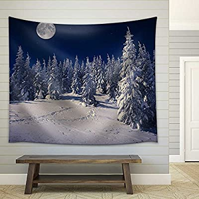 That You Will Love, Astonishing Expertise, Beautiful Winter Landscape in The Mountains at Night with Stars and Moon Fabric Wall