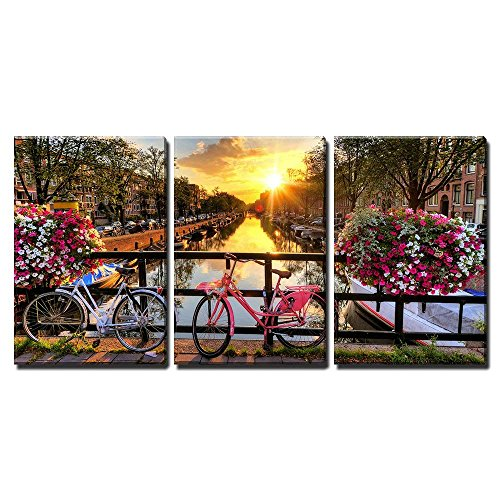 wall26 - 3 Piece Canvas Wall Art - Beautiful Sunrise Over Amsterdam, The Netherlands, with Flowers and Bicycles - Modern Home Decor Stretched and Framed Ready to Hang - 16