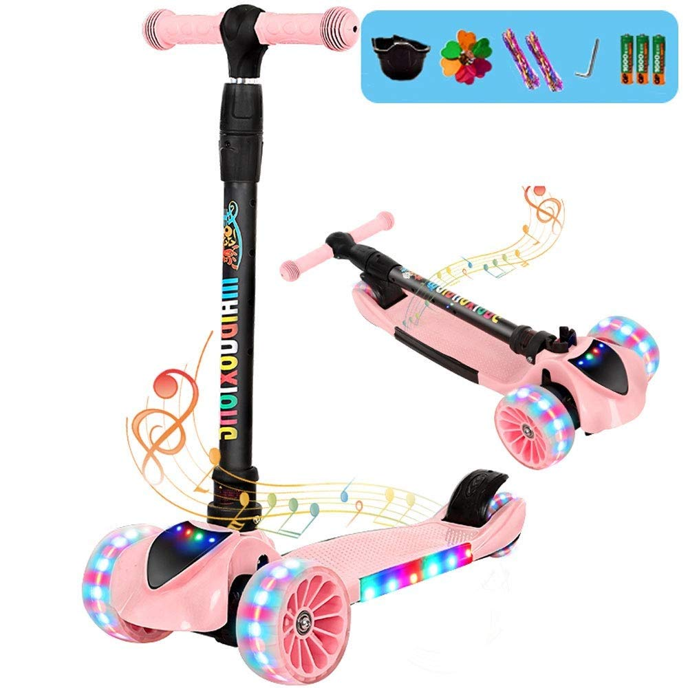 MYHXC Kick Scooter Kids 3 Wheel Scooter,4 Height Adjustable Pu Wheels Extra Wide Deck Best Gifts Kids, Boys Girls Music Light by MYHXC