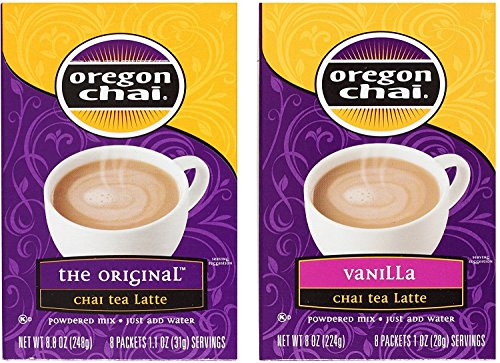 - Oregon Chai Tea Latte Packets Variety Bundle: (1) Original Chai 8.8oz and (1) Vanilla Chai 8oz (2 Pack Total)